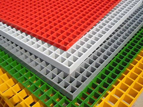Molded fiberglass grating available in many colors
