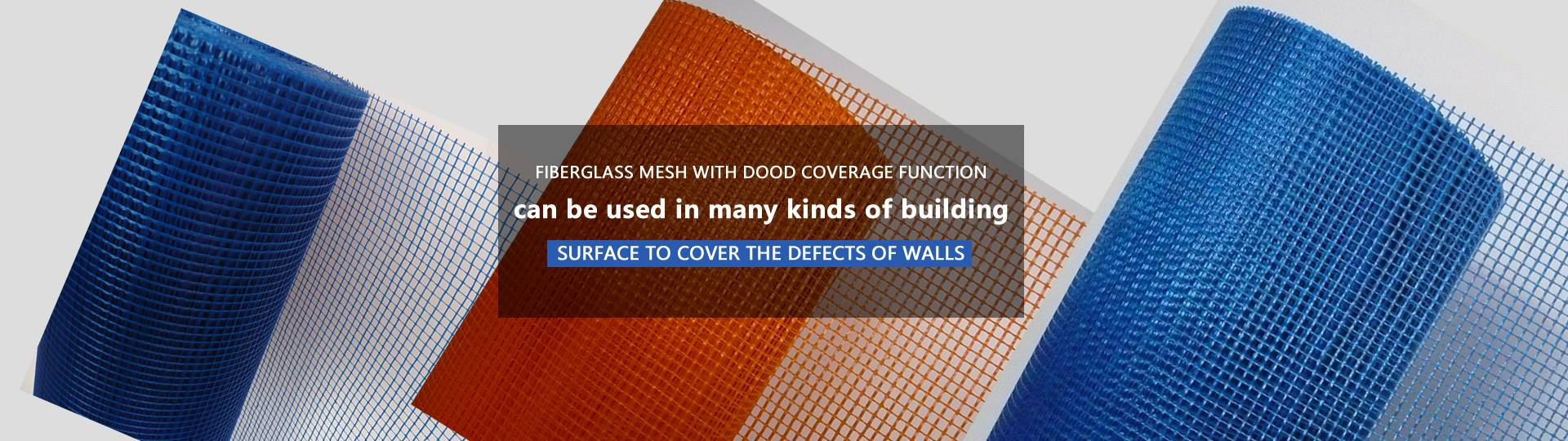 rolls of fiberglass mesh in blue and orange colors.