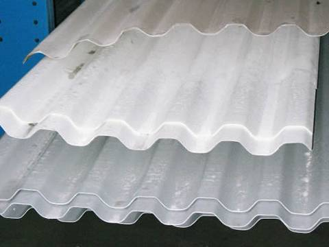 Fiberglass corrugated panel in white