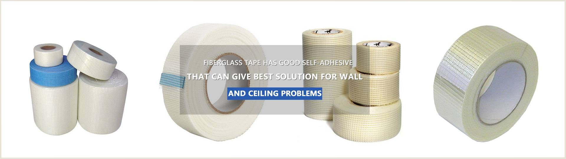 Several rolls of fiberglass tape with different sizes are on the white background.
